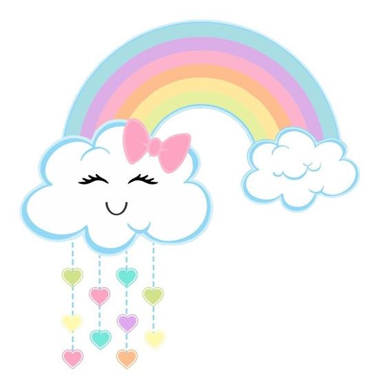Kit Imprimible Nube Arco Iris Lluvia De Amor Texto Editable