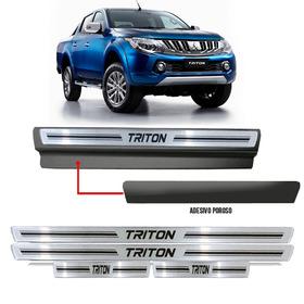 Soleira Premium Resinada Prata Com Vinil Toyota Triton