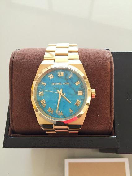 Relógio Michael Kors Dourado Azul Mk 5894 Original