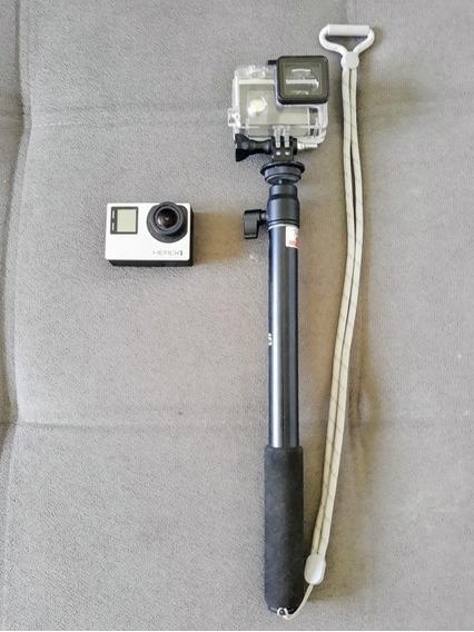 Câmera Gopro Hero4 Silver+bastão+carregador S/cartão Class10