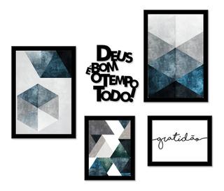 Kit Quadros Decorativos Abstrato Azul Frases Com Moldura