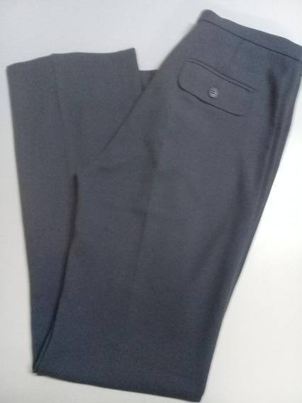 Pantalon Mango Mujer Vestir Gris Azulado Jersey Talle 40
