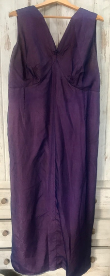 Vestido Largo De Organza Violeta Talle Grande
