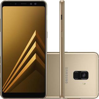 Smartphone Samsung A8+ Gold 64gb Câmeras 16mp+8mp Biometria