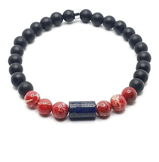 Pulseira Pedras Ônix Jaspe Imperador Red Lápis Lazuli