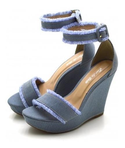 Sandália Anabela Salto Alto Em Tecido Jeans Conforto Verão