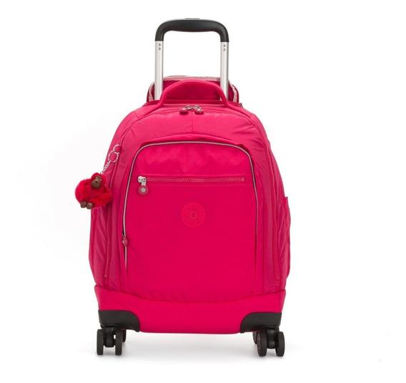 Mochila 4 Rodinhas Com Alças De Costas Zea Kipling True Pink