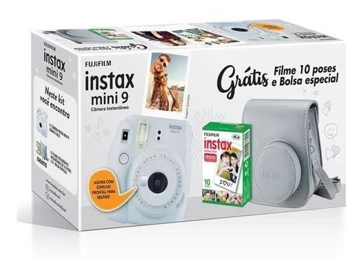 Kit Camera Instax Mini 9 Branco Gelo + Bolsa E Filme