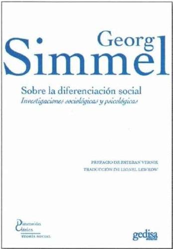 Imagen 1 de 3 de Sobre La Diferenciación Social, Georg Simmel, Gedisa