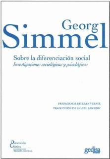Sobre La Diferenciación Social, Georg Simmel, Gedisa