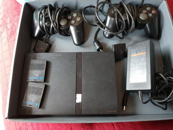 Sony Playstation 2 Com Controles, Memória E Jogos