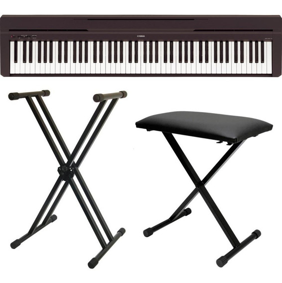 Piano Digital Yamaha P45 Preto Com Fonte + Banco + Estante