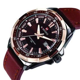 Relógio Estiloso Masculino Couro Naviforce Data Barato Luxo