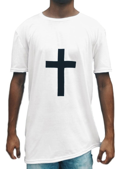 Camiseta Masculina Com Cruz Swag Camisa Longline Oversized