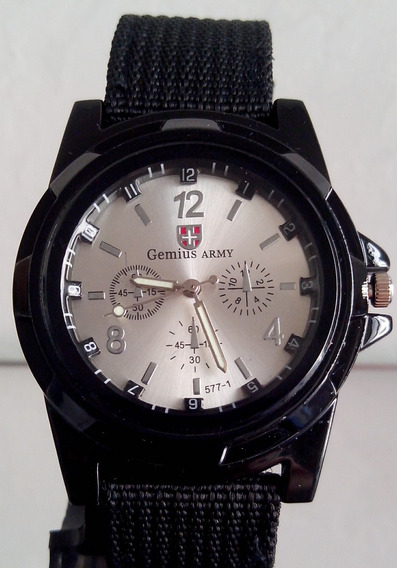 Relógio Masculino Gemius Army Prata Pulseira Nylon Promoção
