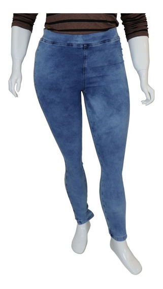 Calça Legging Jeans Plus Size Cintura Alta Azul Lav. Cambos