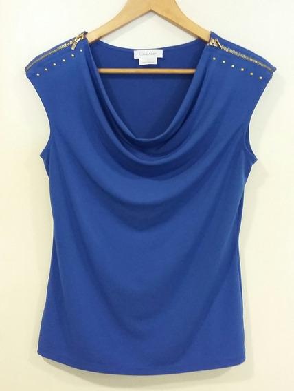 Remera Azul Francia Cierres Tachas Doradas Calvin Klein T S