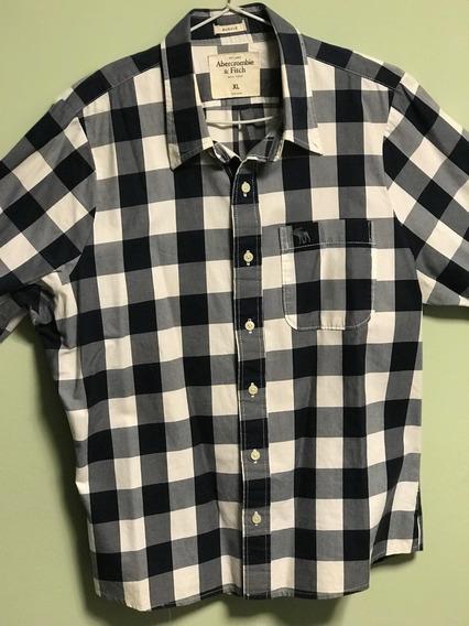 Camisa Abercrombie & Fitch Xadrez Azul Branco - Tam Gg