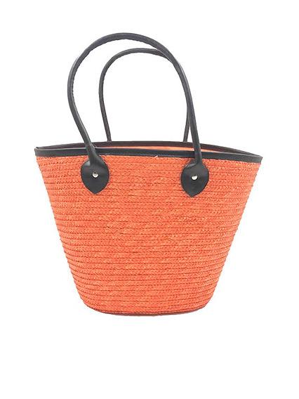 Bolsa Feminina De Palha Grande E Reforçada (laranja)