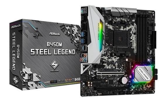 Placa Mãe Asrock B450m Steel Legend Chipset B450 Am4 Ddr4