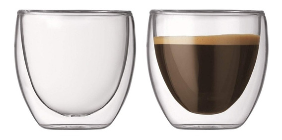 Vaso Doble Vidrio Espresso Nespresso Simil Bodum Set X2 75ml