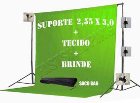 1tecido 3x2 Verde+ Suporte Fundo Infiito Chroma Key Youtuber