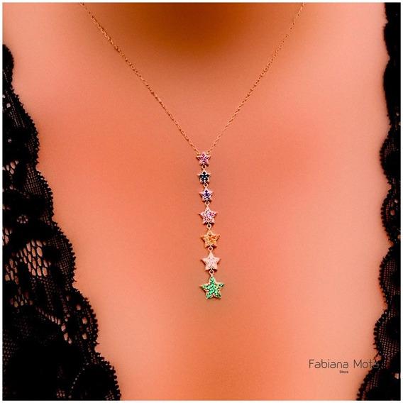 Colar Prata 925 Banho Ouro 18k Pingente Estrelas Rainbow Cre
