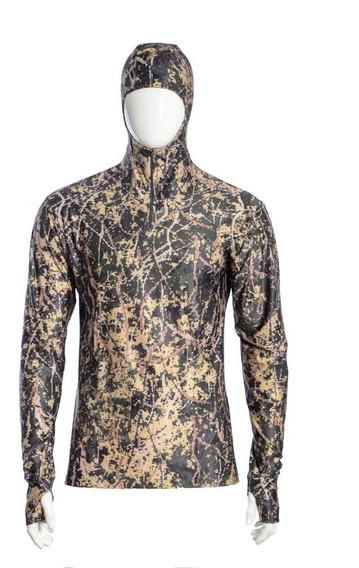 Camisa Camiseta Camuflada Com Capuz Proteção Uv50 Paitball
