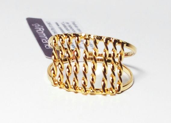 Anel Folheado Ouro 18k Rommanel Fios Torcidos Vazado 511045