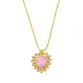 Colar Coração Rose Fusion Folheado Em Ouro 18k