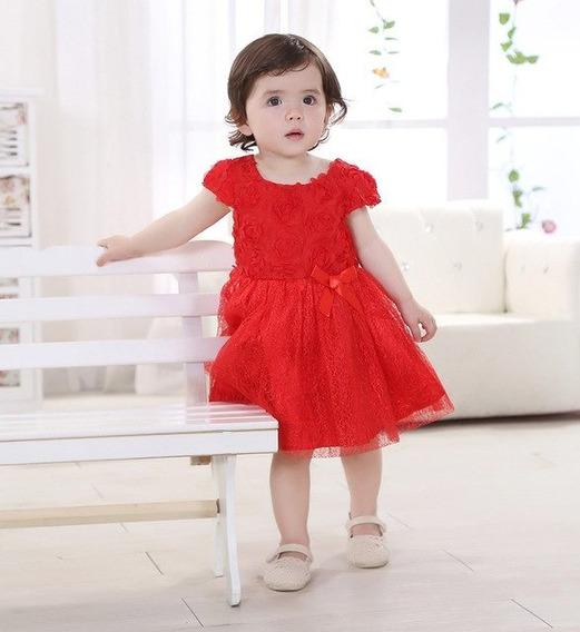 Hermoso Vestido Rojo Detalle Flores Tutú Princesa Envio Grat