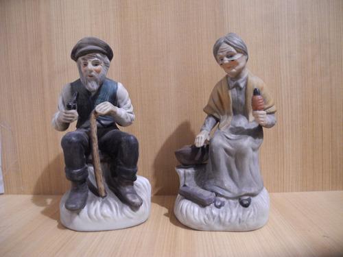 Figura De 2 Ancianos Chinos En Ceramica Adorables