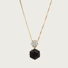 Gargantilha Em Ouro 18k (750) Com Quartzo Negro E Diamantes