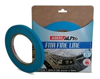 Fita Fina Pintura Automotiva Filete Adere Azul Auto 6mmx50m
