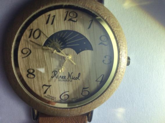Diferenciado Relógio Renee Nicol 40 Mm De Madeira , Lunar