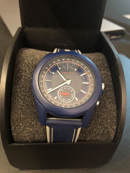 Relógio Armani Exchange Axt1002 Connected Mens Blue Silicone