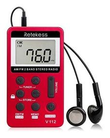Mini Rádio De Bolso Digital Retekess V-112 Am/fm Vermelho