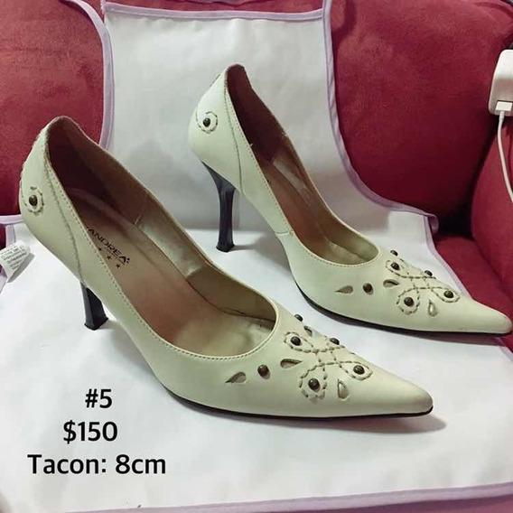 Zapato Para Dama De Tacon Color Hueso Y Pedreria De Andrea