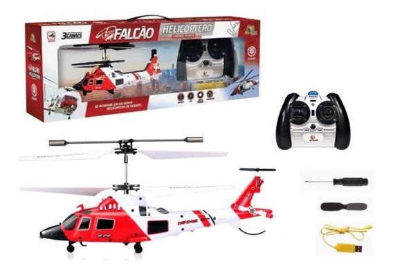 Helicóptero Controle Remoto Falcão 3 Canais Com Giroscópio T