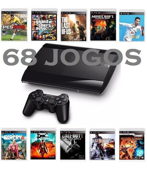 Ps3 Playstation 3 Super Slim 68 Jogos + Gta 5 + Fifa 19 + Pes 2018