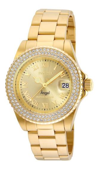 Relógio Invicta Angel 24614 Feminino Banhado Ouro Original