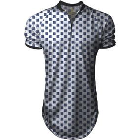 a9053afe0 Camiseta Masculina Oversized Longline Gola Polo Sport Xadrez