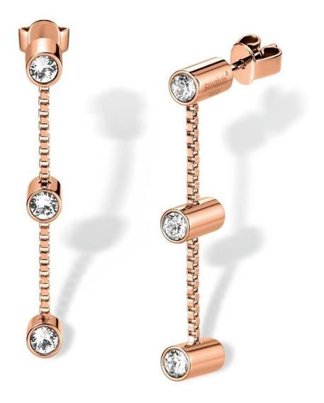 Joyas Lustro Earrings Long Rose White Crystal Oro Rosa Swatc