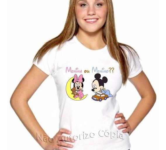 Camisa Chá De Revelação Mickey E Minnie Kit 10 Camisas
