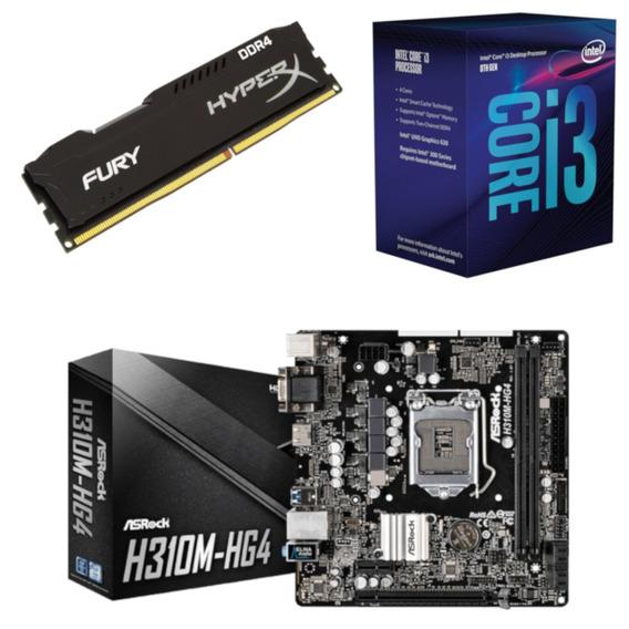 Kit Intel I3 8100 + Asrock H310m Hg4 + Hx 4gb 2400