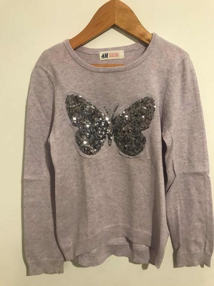 Sweater Niña H&m. Lila Bordado. Talle 4 A 6 Años
