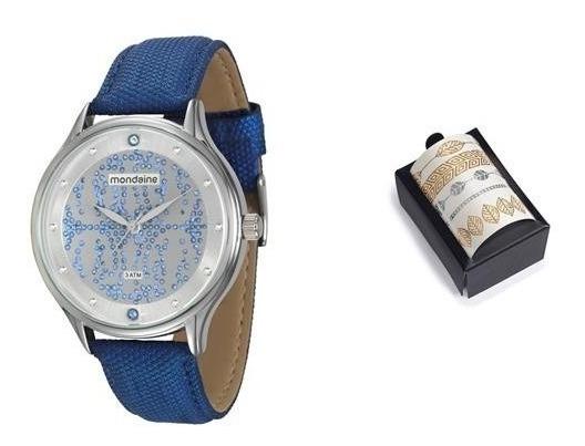 Relógio Feminino Mondaine 76441l0mgnh1k Azul + Brinde