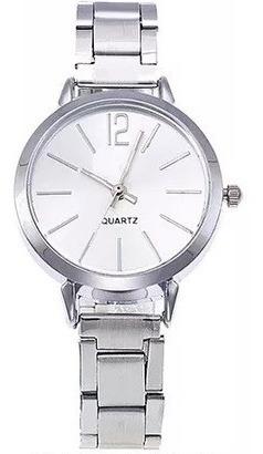 Relógio Feminino Quartz Prata - Aço Inox + Caixinha