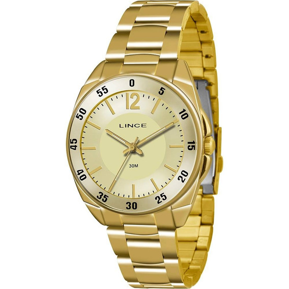 Relógio Feminino Dourado Lince Lrgk043l C2kx