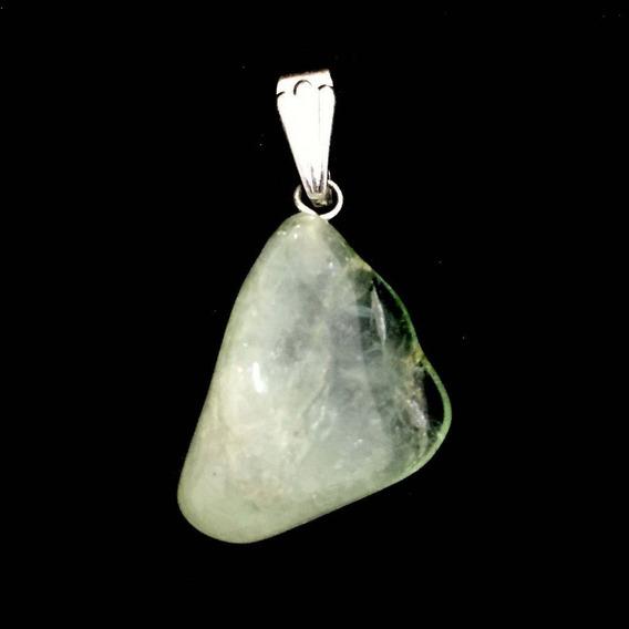 Pingente Prateado De Água Marinha Cristal Pedra Natural